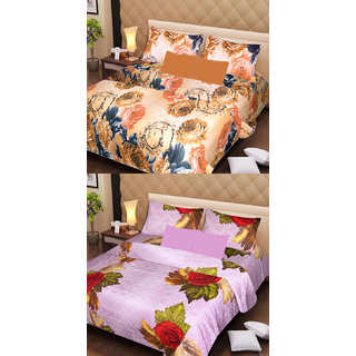 Akash Ganga 2 Cotton Double Bedsheets with 4 Pillow Covers (AG1117)