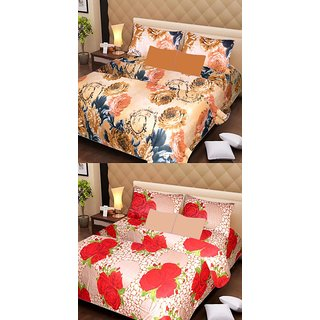 Akash Ganga 2 Cotton Double Bedsheets with 4 Pillow Covers (AG1120)