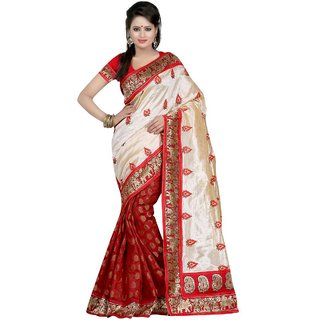 Aagaman Red Viscose Silk Lace Saree With Blouse
