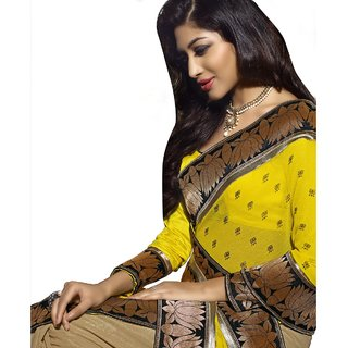 Aagaman Yellow Georgette Self Design Saree With Blouse