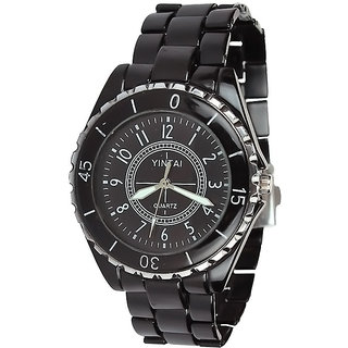 Rosra Round Dial Black Leather Strap Mens Quartz Watch