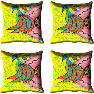 meSleep Beautiful Peacock Digital Printed Cushion Cover 16x16