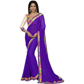 Aagaman Purple Chiffon Lace Saree With Blouse