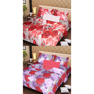 Akash Ganga Pure Cotton 2 Double Bedsheets with 4 Pillow Covers (AG1122)