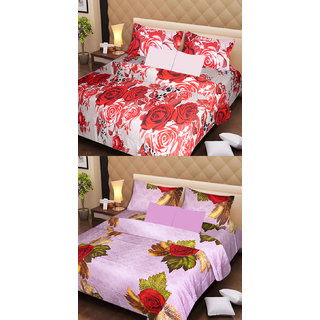 Akash Ganga Pure Cotton 2 Double Bedsheets with 4 Pillow Covers (AG1123)
