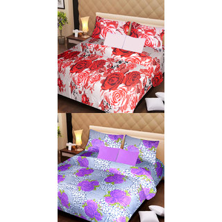 Akash Ganga Cotton 2 Double Bedsheets with 4 Pillow Covers (AG1124)