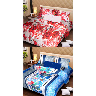 Akash Ganga Pure Cotton 2 Double Bedsheets with 4 Pillow Covers (AG1125)