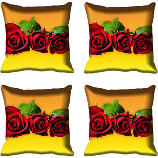 meSleep Red Rose Digital Printed Cushion Cover 16x16