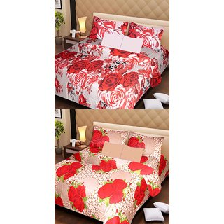 Akash Ganga Pure Cotton 2 Double Bedsheets with 4 Pillow Covers (AG1126)
