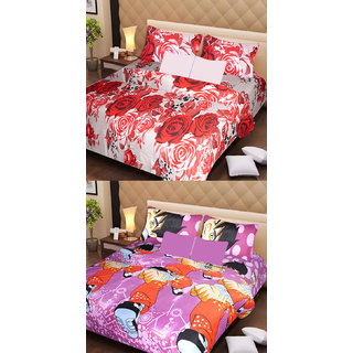 Akash Ganga 2 Cotton Double Bedsheets with 4 Pillow Covers (AG1128)