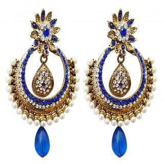 Dhwani Creation ER2275BL Blue Alloy Designer Drop Earrings