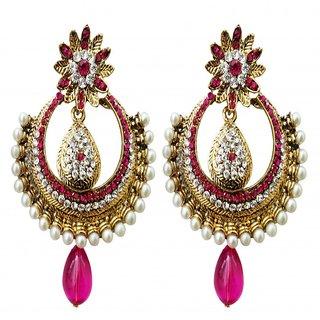 Dhwani Creation ER2275DP Pink Alloy Designer Drop Earrings