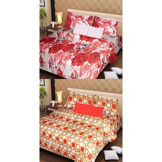 Akash Ganga Pure Cotton 2 Double Bedsheets with 4 Pillow Covers (AG1129)