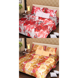 Akash Ganga 2 Cotton Double Bedsheets with 4 Pillow Covers (AG1130)