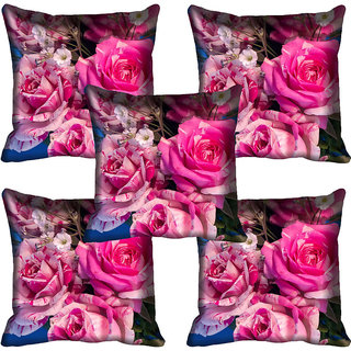 meSleep Pink Rose Digital Printed Cushion Cover 16x16