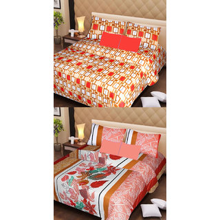 Akash Ganga Cotton 2 Double Bedsheets with 4 Pillow Covers (AG1132)