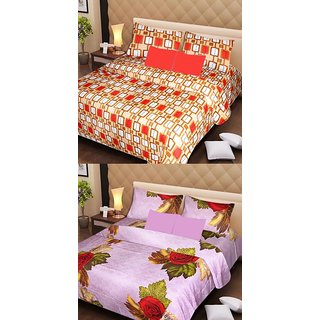 Akash Ganga 2 Cotton Double Bedsheets with 4 Pillow Covers (AG1135)
