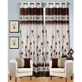 Fabbig Coffee Lilly Flower Panel Door Curtain (Set of 2)