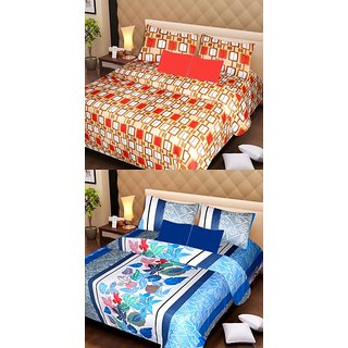 Akash Ganga Pure Cotton 2 Double Bedsheets with 4 Pillow Covers (AG1137)