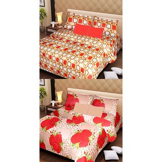Akash Ganga 2 Cotton Double Bedsheets with 4 Pillow Covers (AG1138)