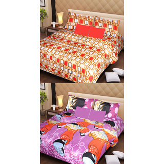 Akash Ganga Beautiful Combo of 2 Double Bedsheets with 4 Pillow Covers (AG1140)