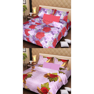 Akash Ganga Beautiful Combo of 2 Double Bedsheets with 4 Pillow Covers (AG1141)
