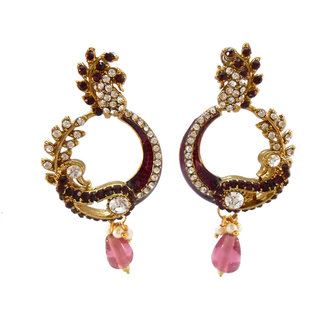 My Design stone with purple meenakari earring