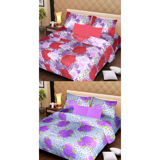 Akash Ganga Beautiful Combo of 2 Double Bedsheets with 4 Pillow Covers (AG1142)
