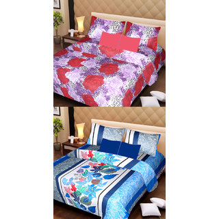 Akash Ganga Beautiful Combo of 2 Double Bedsheets with 4 Pillow Covers (AG1143)