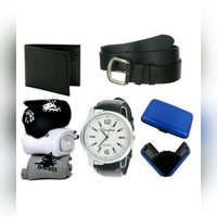 Leather Strap Stylish Watch ,Belt ,Wallet ,Credit Card Wallet And 3Pair Socks Fr