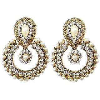 Beautiful Golden Color Moti Work Hanging Earrings