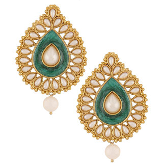 The Jewelbox Green Meenakari Enamel Pearl Gold Plated Pear Drop Ethnic Earring