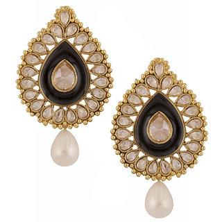 The Jewelbox Black Meenakari Enamel Kundan Gold Plated Pear Drop Ethnic Earring
