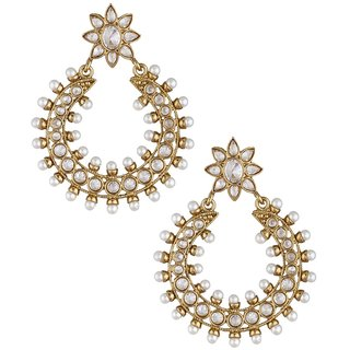 The Jewelbox 18K Gold Plated Cz Pearl Chaand Bali Earring For Women