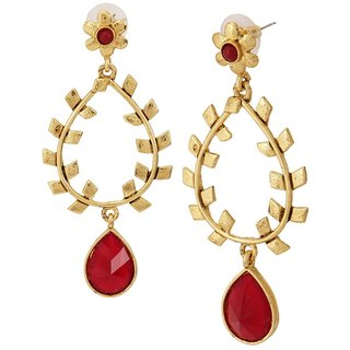 The Jewelbox 18K Gold Plated Filigree Red Stone Dangling Earring For Women