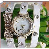 White Leather Fancy Watch For Girls,Women