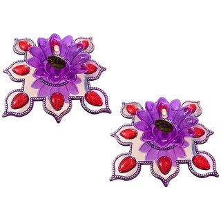 Unique Arts LED T-Light Diya purplesilver with flower shaped base - set of 2
