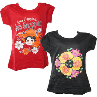 Jisha Cotton Multicolour Girls Top | Pack of 2