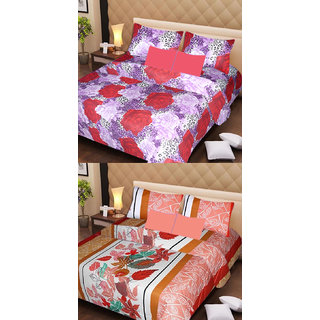 Akash Ganga Beautiful Combo of 2 Double Bedsheets with 4 Pillow Covers (AG1148)