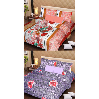 Akash Ganga Beautiful Combo of 2 Double Bedsheets with 4 Pillow Covers (AG1150)