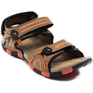Sparx Mens Brown And Orange Velcro Sandals