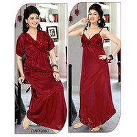 Sassy Red Satin Plain Night Gowns  Nighty