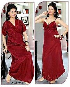 Sassy Red Satin Plain Night Gowns  Nighty