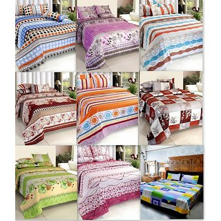 Combo of 9 Double Bedsheet with 18 Pillow Covers