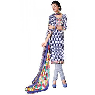Khushali Presents Chudidar Dress Material(White,Blue)