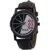 Relish Round Dial Black Leather Strap Quartz Watch For