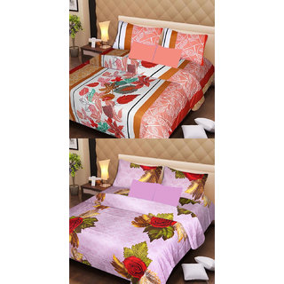 Akash Ganga Beautiful Combo of 2 Double Bedsheets with 4 Pillow Covers (AG1151)