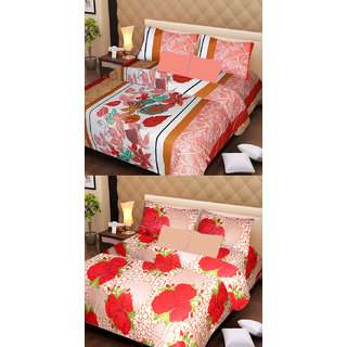 Akash Ganga Beautiful Combo of 2 Double Bedsheets with 4 Pillow Covers (AG1154)