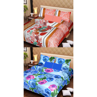Akash Ganga Beautiful Combo of 2 Double Bedsheets with 4 Pillow Covers (AG1155)