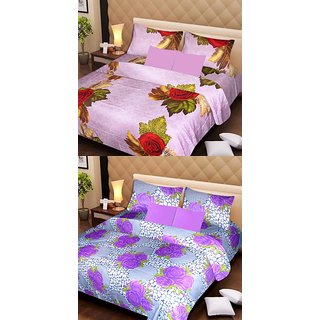 Akash Ganga Beautiful Combo of 2 Double Bedsheets with 4 Pillow Covers (AG1158)